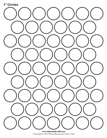 circle template 1 inch - 1 Inch Circle Template