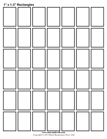 picture about Rectangle Template Printable named Rectangle Templates - 1 Inch - Tims Printables