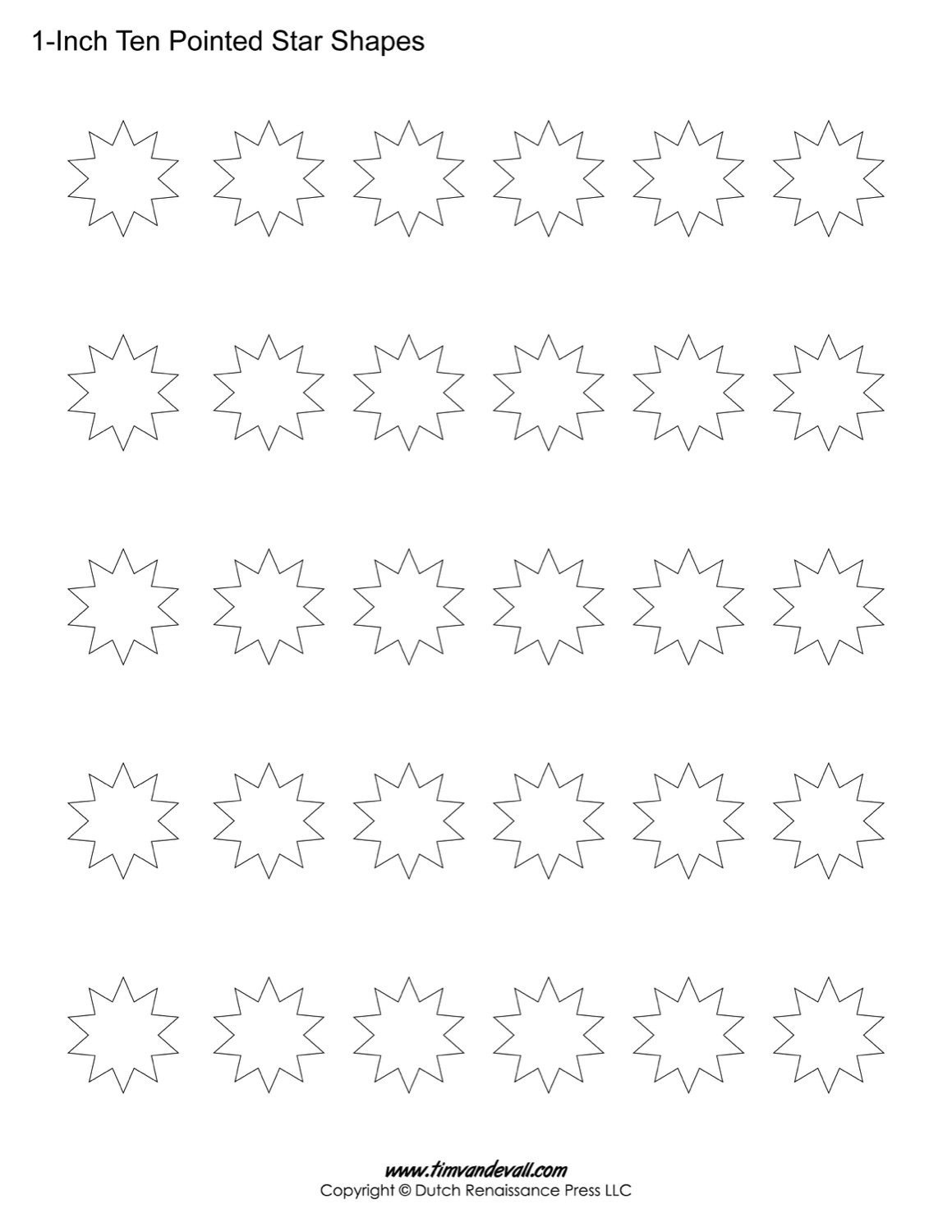 ten pointed star shapes