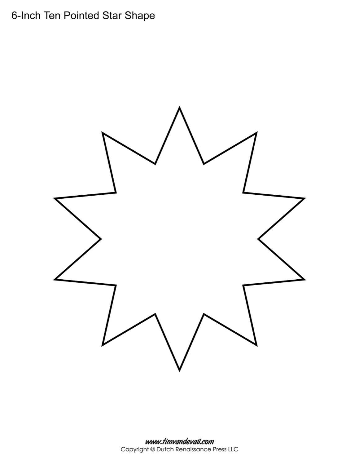 blank ten pointed star shapes