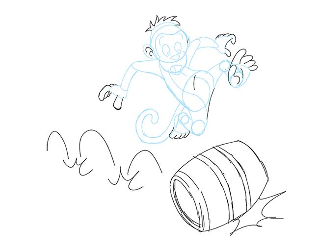 how to draw a monkey step by step cartoon