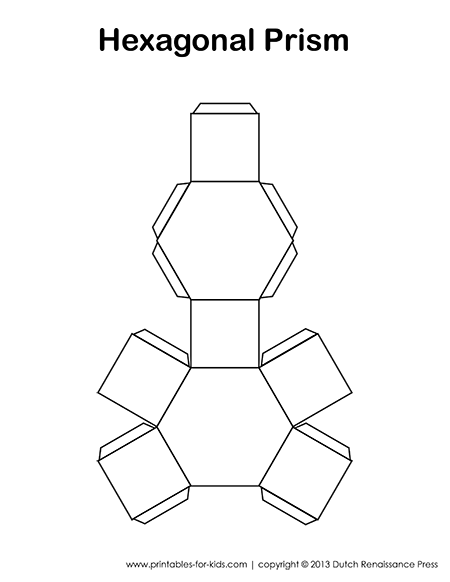 Hexagonal Prisms: Paper Models, Surface Area, Volume Formulas and Nets