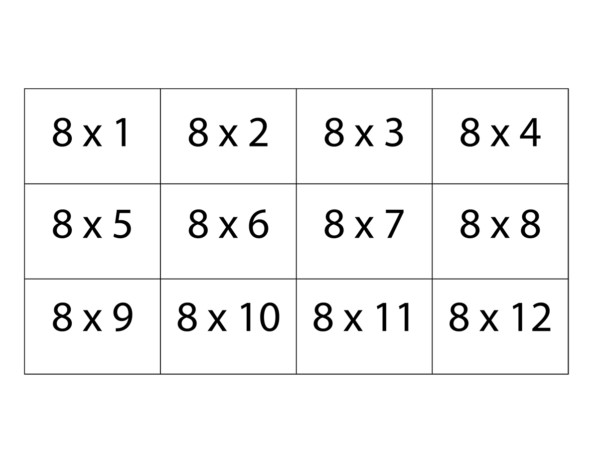 Perfect 8 Times Table Flash Cards 1200 x 927 · 59 kB · png