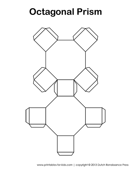 Octagonal Prisms: Paper Models, Surface Area, Volume Formulas and Nets
