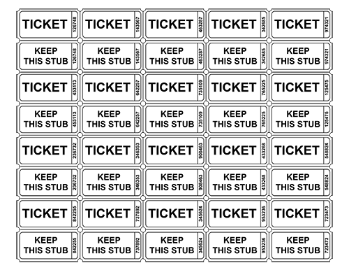 Free printable raffle ticket templates blank for Numbered event ticket template free