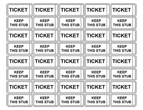 Free Printable Raffle Ticket Templates Blank Downloadable PDFs – Printable Tickets Template Free