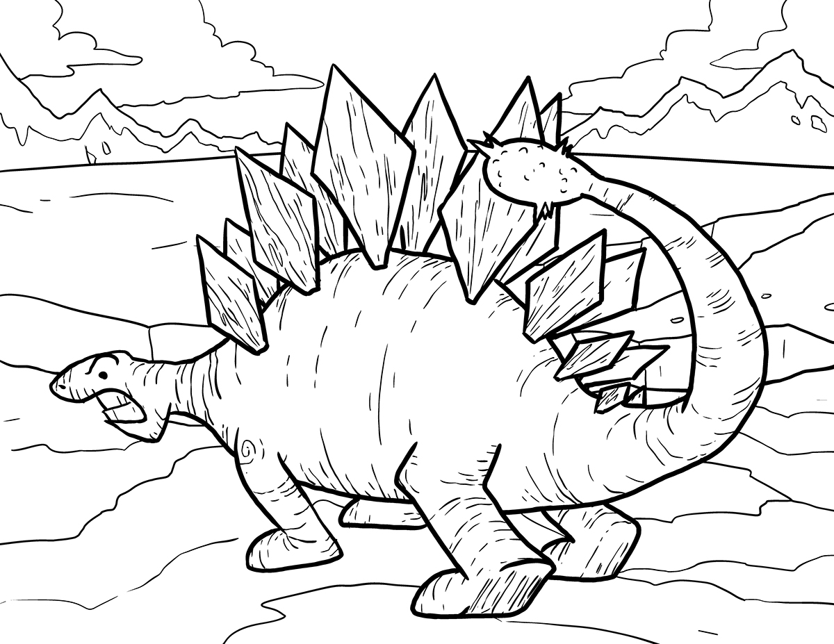 Creation dinosaur coloring pages - Stegosaurus Coloring Page