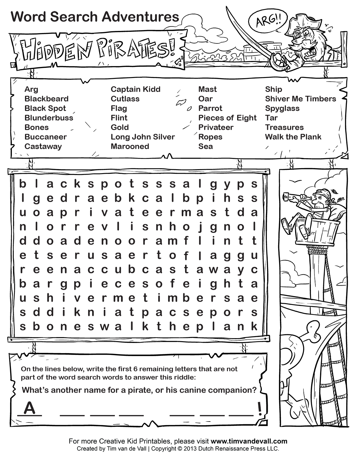 Kids Word Search Black and white word searches