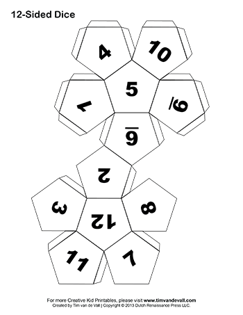 ten sided dice templates