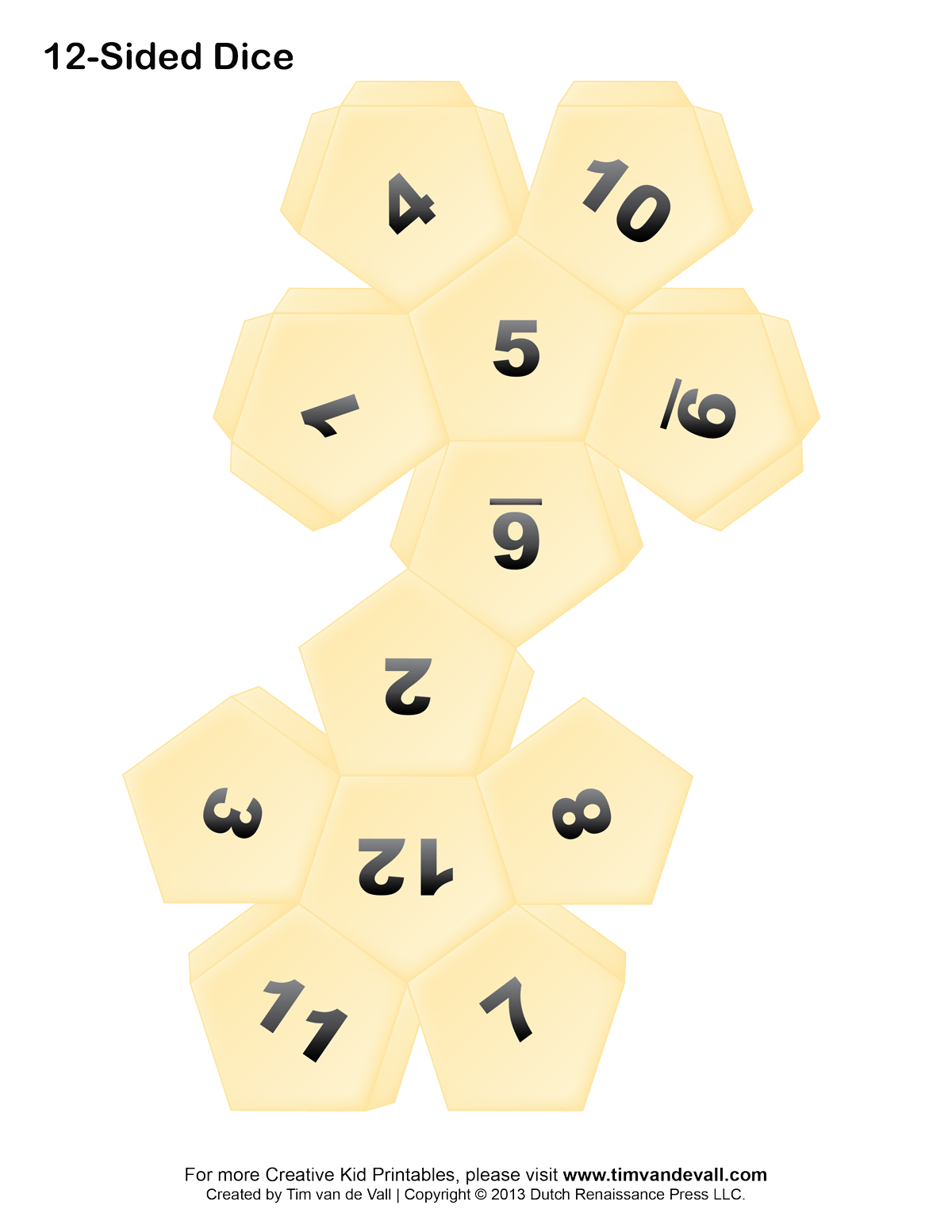 blank 10 sided dice template