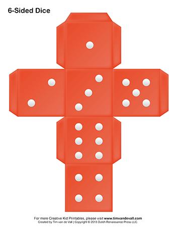 printable dice template
