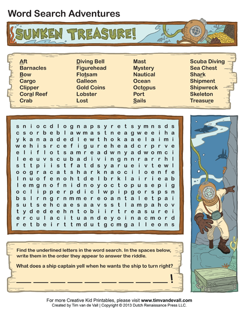 sunken treasure wordsearch