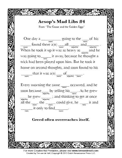 printable mad lib