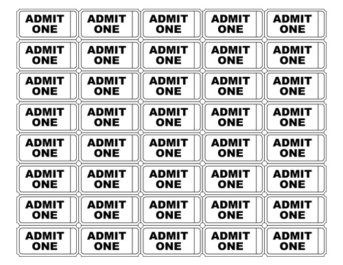 Free printable admit one ticket templates blank for Numbered event ticket template free