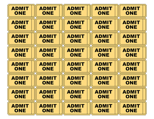Free Printable Admit One Ticket Templates Blank Downloadable PDFs – Tickets Template
