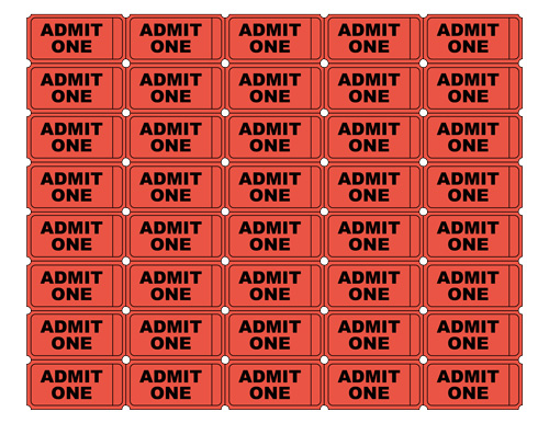 Free printable admit one ticket templates blank for Fake movie ticket template