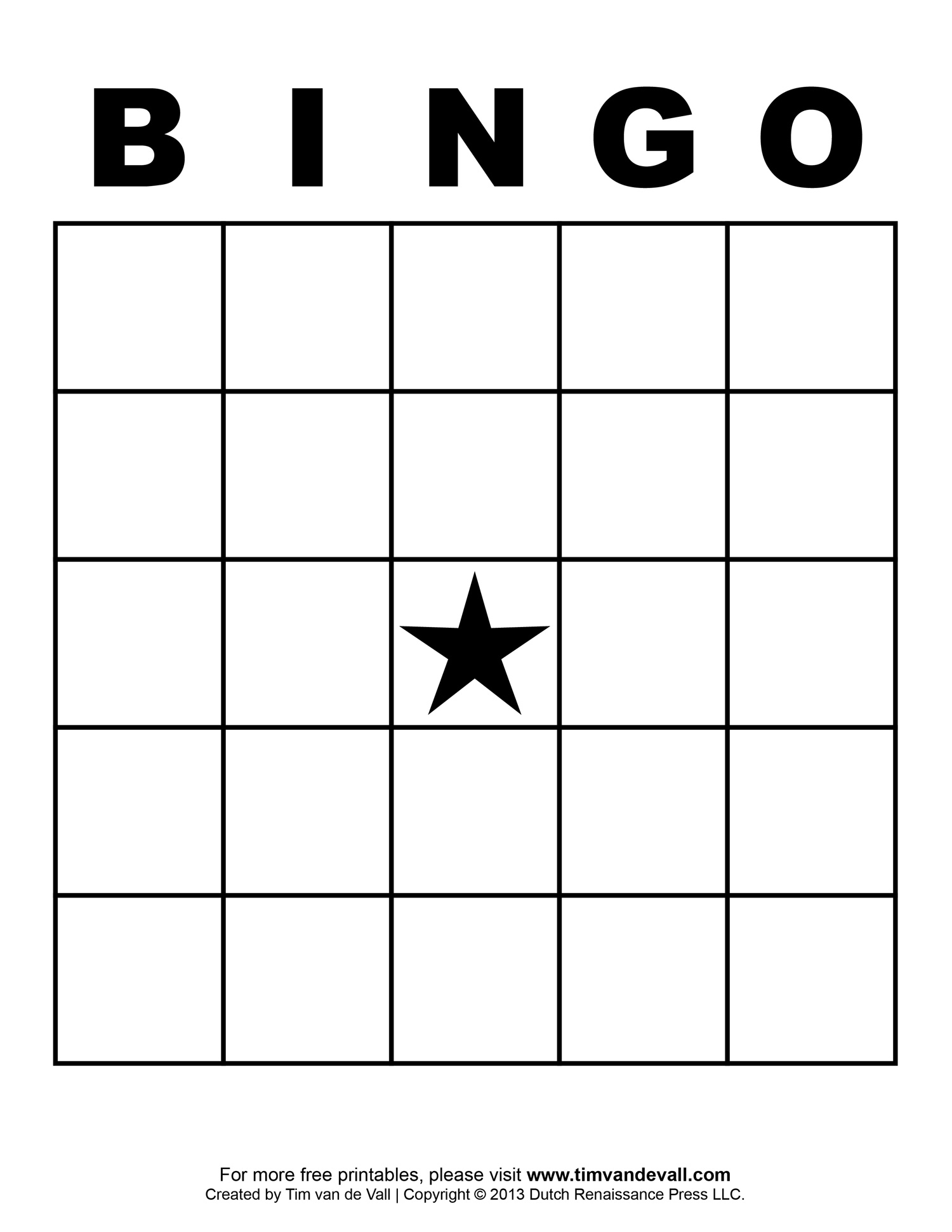 5x5 bingo grid with central star