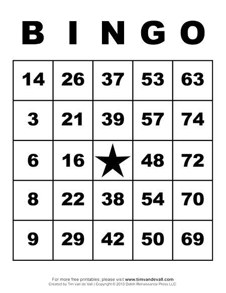 Printable bingo cards with numbers 1 75