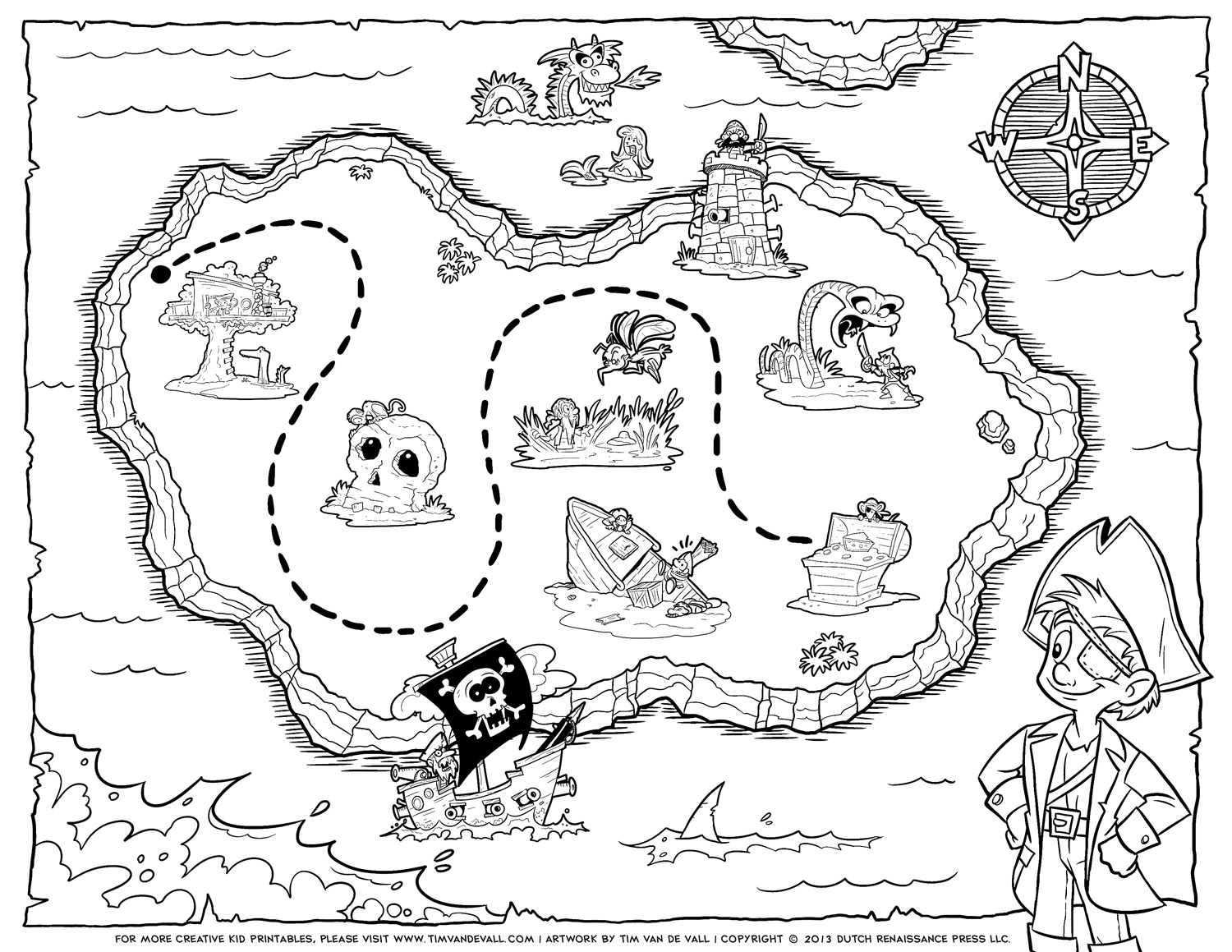 Tim van de vall comics printables for kids for Treasure coloring pages