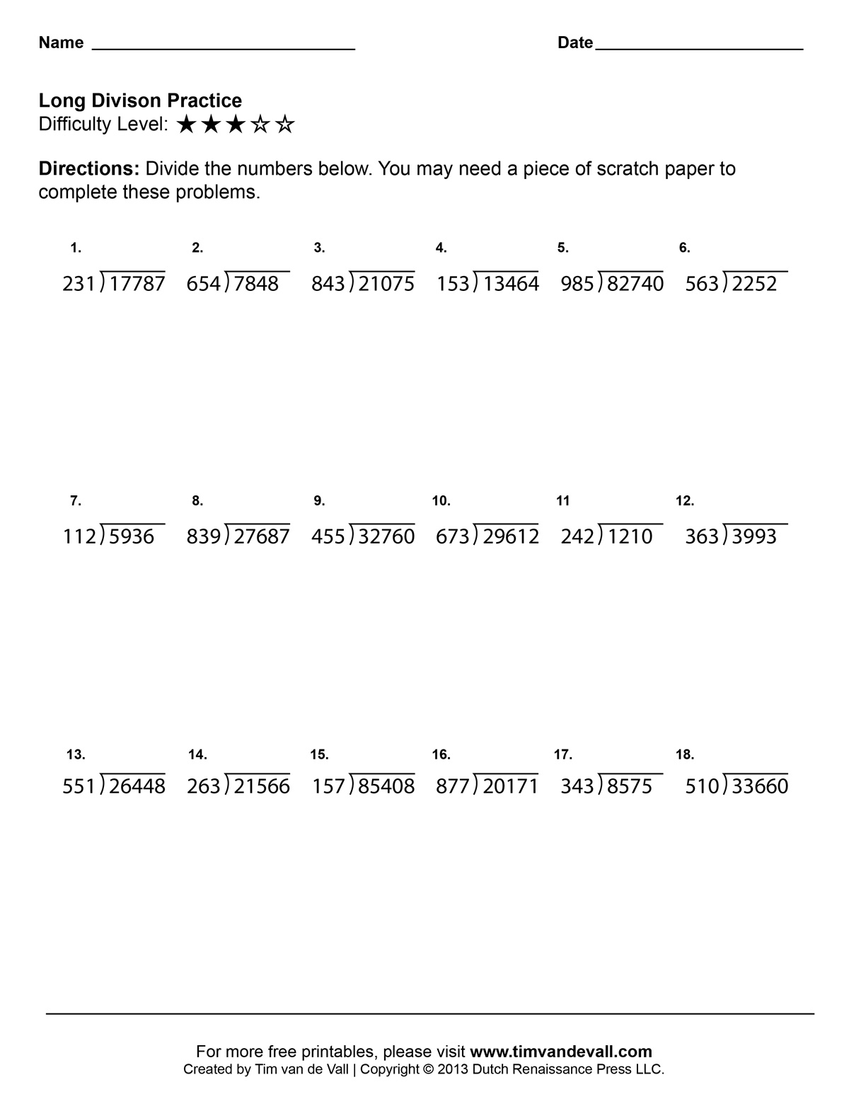 2 Digit Divisor Division Worksheets Davezan – One Digit Division Worksheets