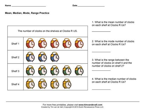 mean median mode range worksheets