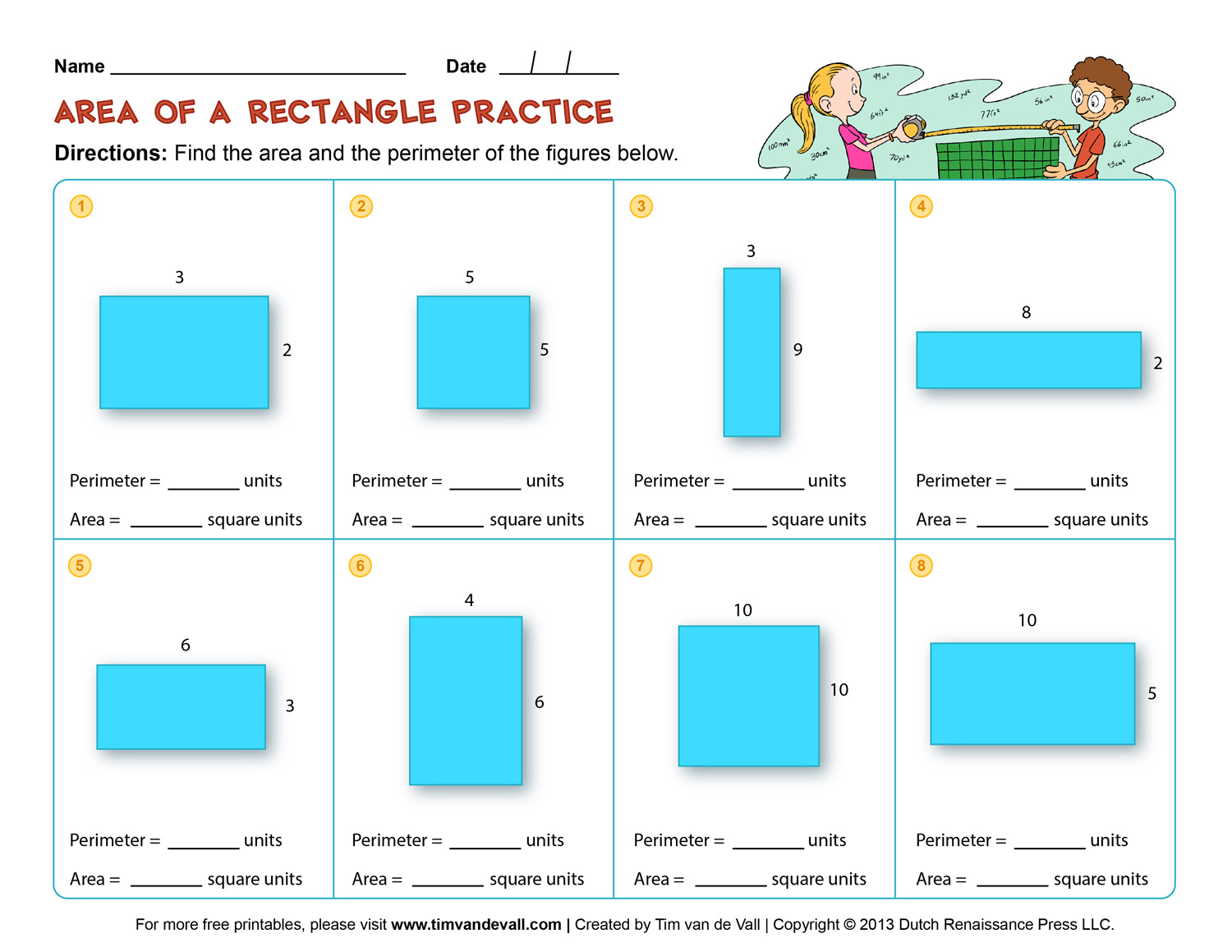 Area and Perimeter Worksheets – Third Grade Math Worksheets
