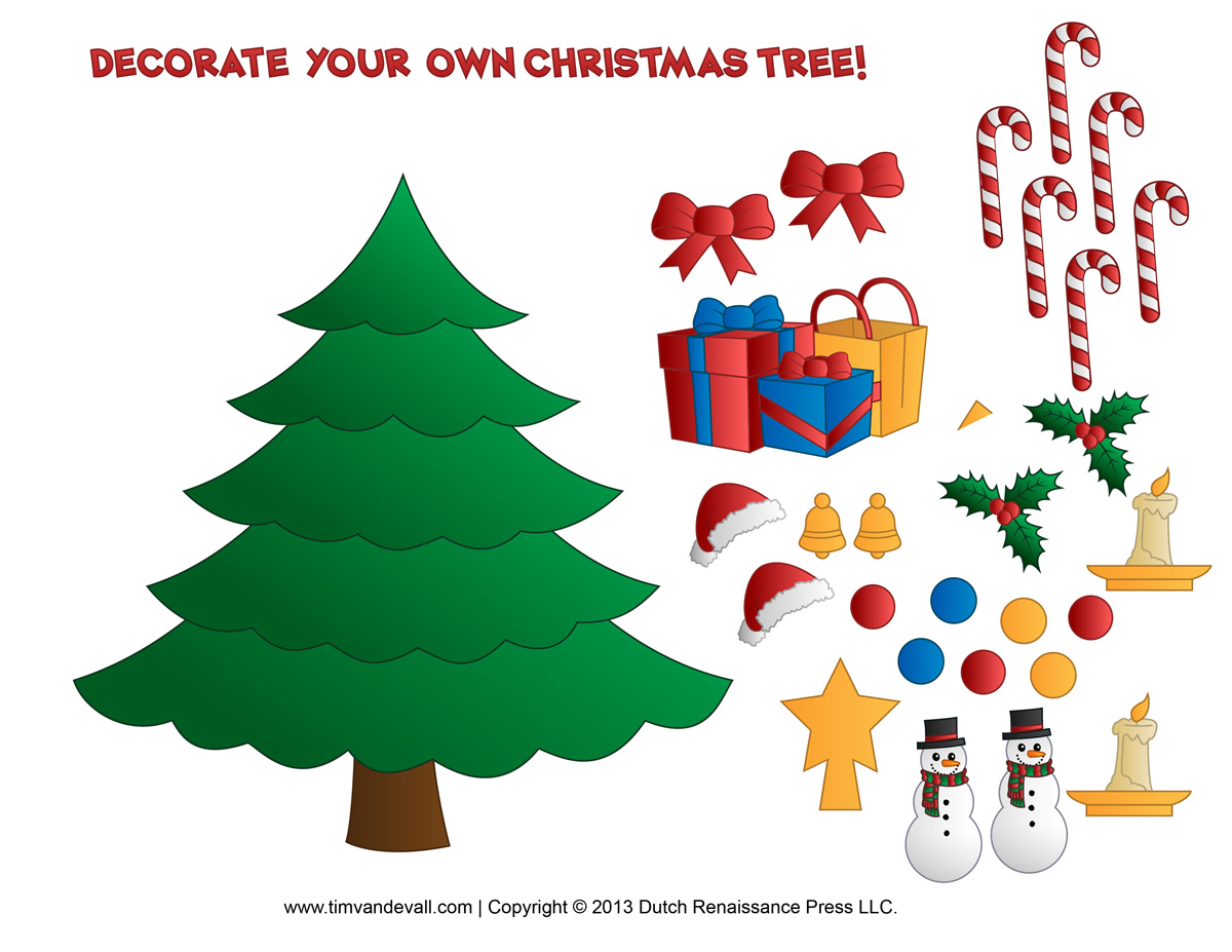 Decorate Christmas Tree Worksheet : Printable paper christmas tree template and clip art