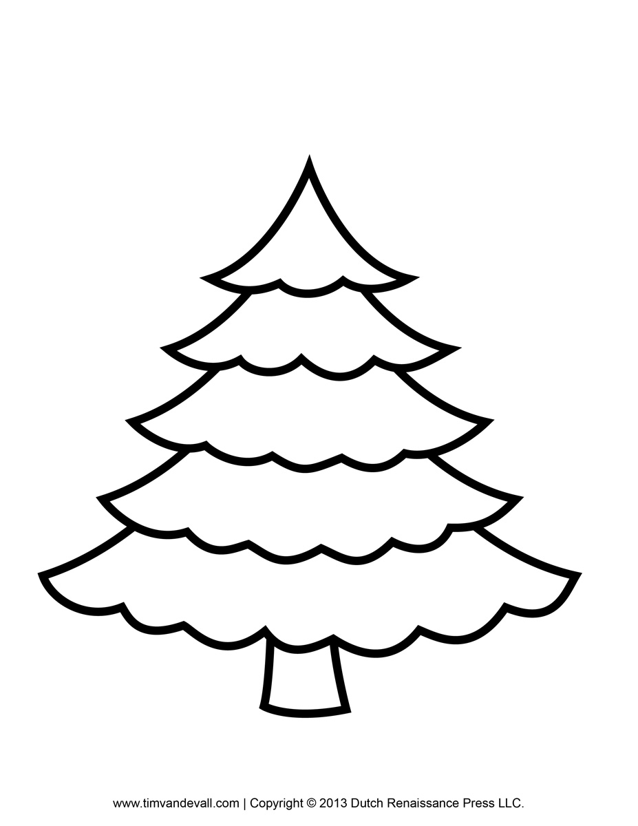 Printable Paper Christmas Tree Template, Clip Art, & Coloring Pages