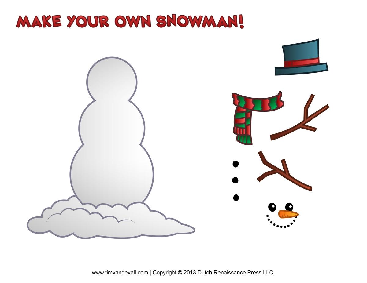 Printable snowman template new calendar template site for Snowman templates free
