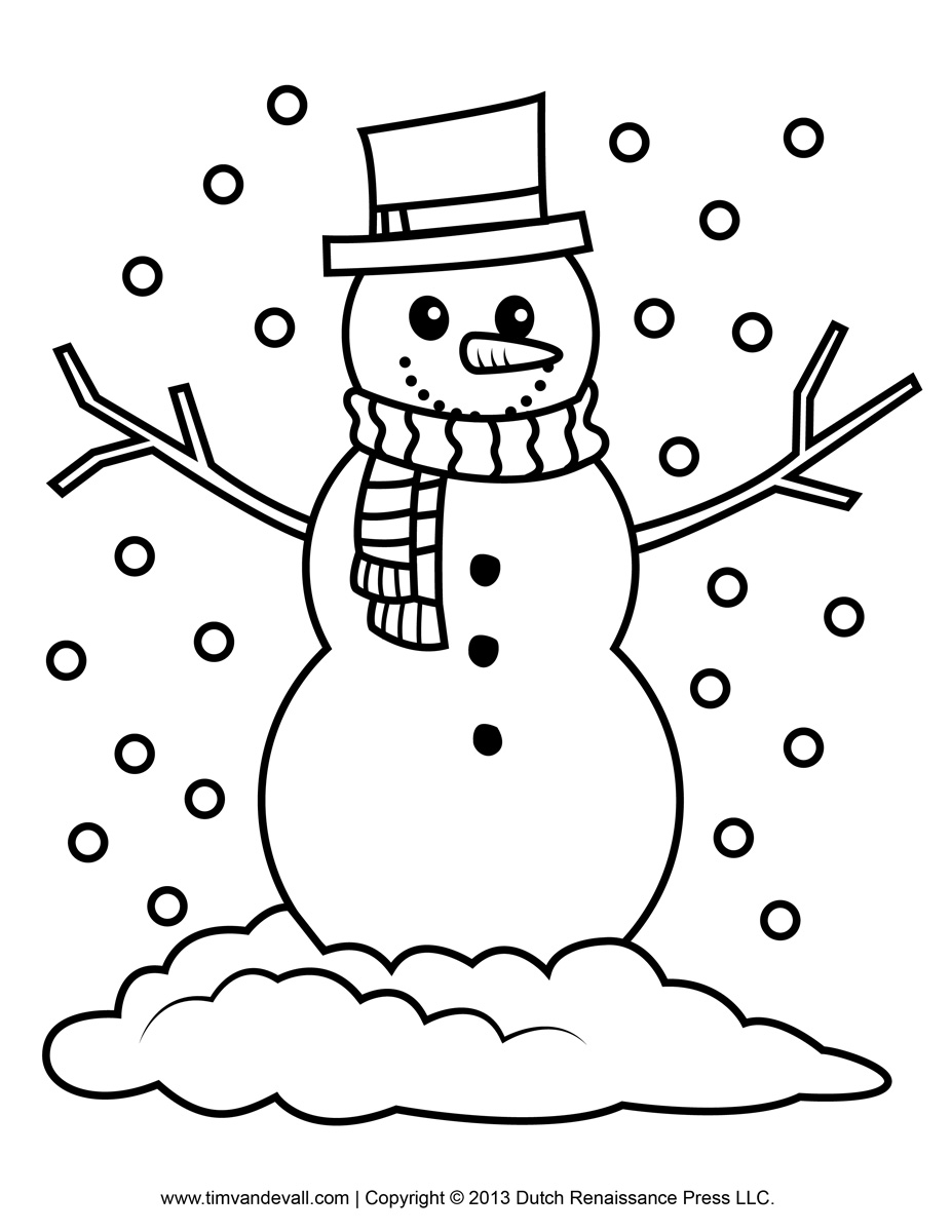 Free snowman clipart template printable coloring pages for kids for Snowman templates free