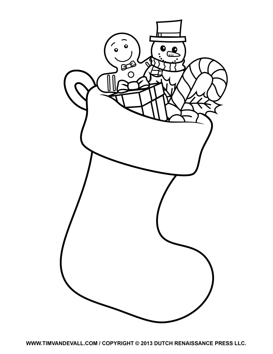 Free christmas stocking template clip art decorations for Make a coloring page out of a photo
