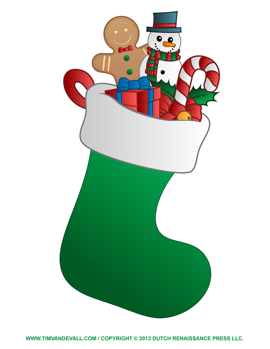 Free Christmas Stocking Template, Coloring Page, Clipart ...