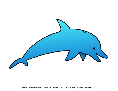 Free Dolphin Clipart Printable Coloring Pages Outline & Silhouette