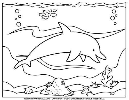 Coloring Pages For Young Learners : Free dolphin clipart printable coloring pages outline