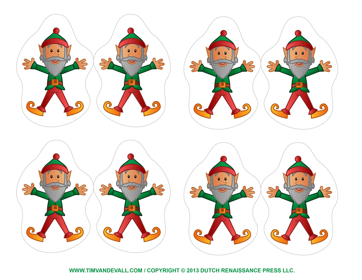 This is an image of Printable Christmas Decorations ( Cutouts) in construction paper