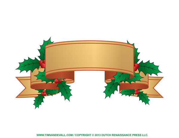 Holly Christmas Label