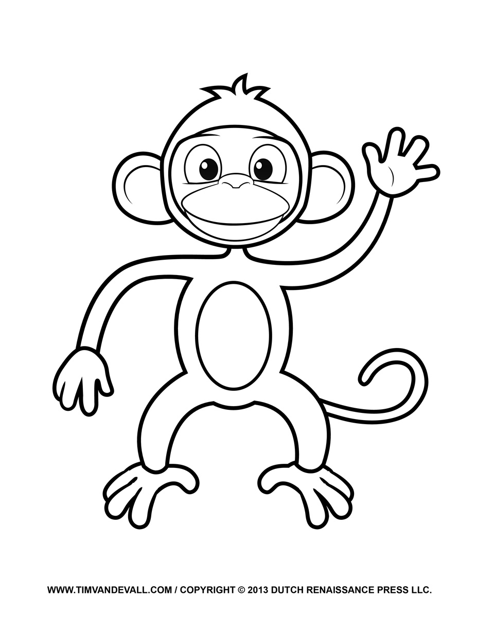 image about Printable Monkey titled Printable Monkey Clipart, Coloring Web pages, Cartoon Crafts