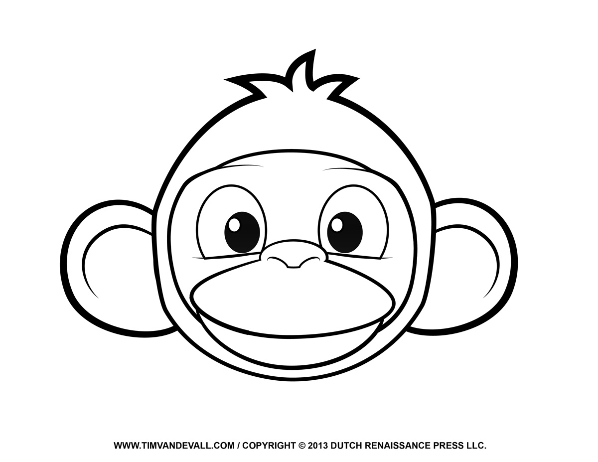 Printable Monkey Clipart Coloring Pages Cartoon Crafts