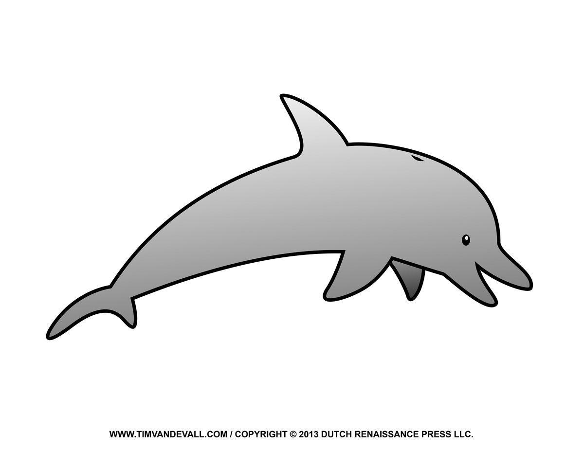 Free Dolphin Clipart Printable Coloring Pages Outline
