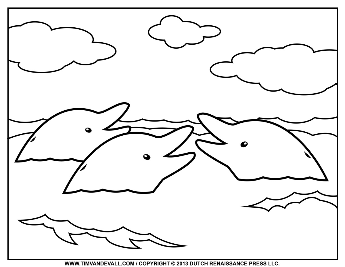 Free Dolphin Clipart, Printable Coloring Pages, Outline ...