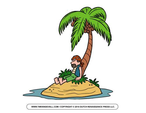 Pirate on Island Clip Art