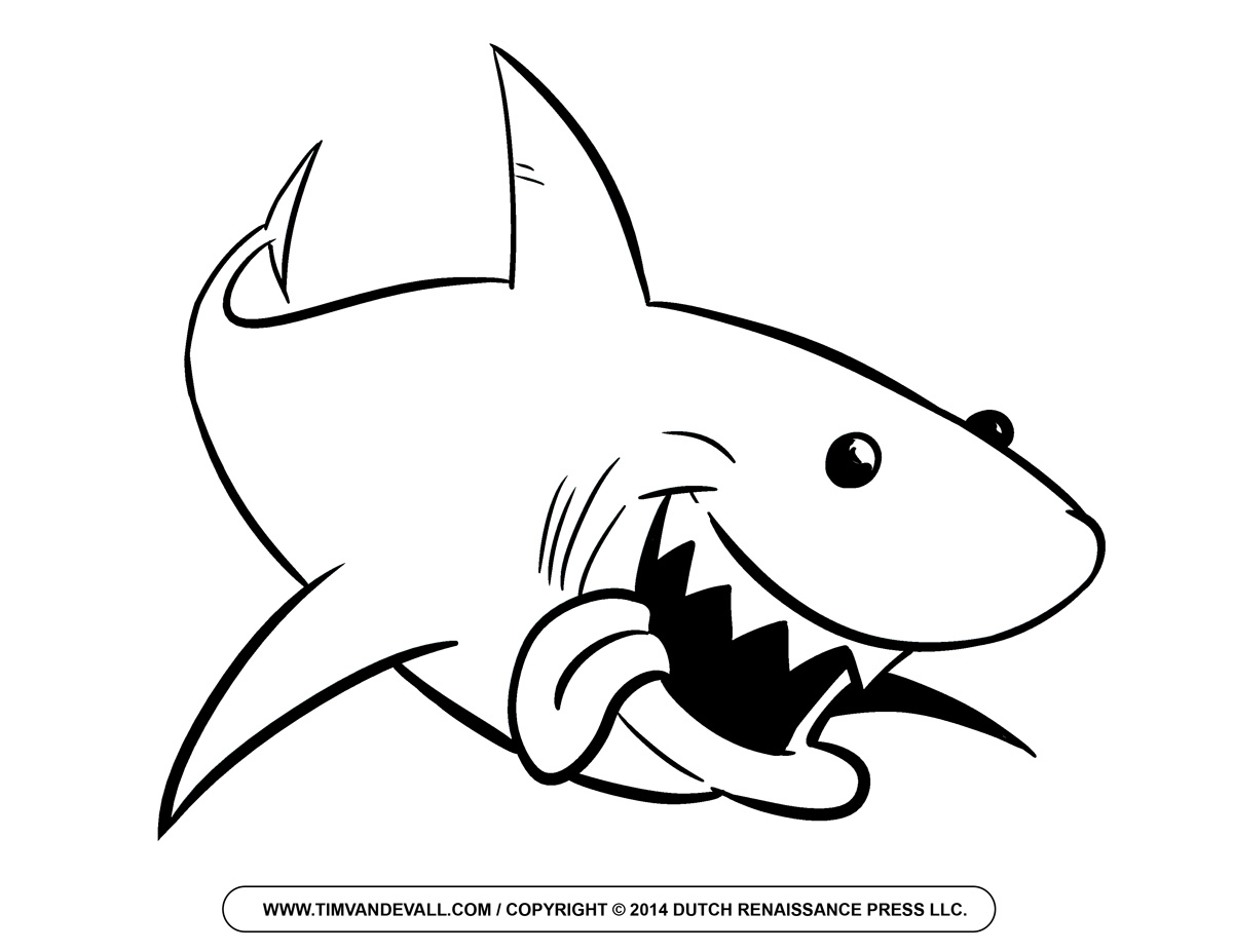 Free cartoon shark clipart shark outline and shark silhouette for Coloring pages shark