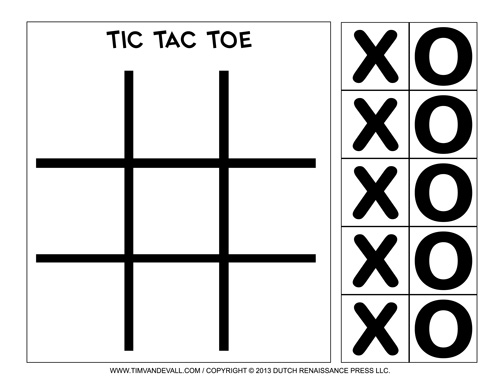 Free Printable TicTacToe Templates – Tic Tac Toe Template