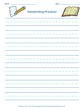 Blue Handwriting Paper for Boys