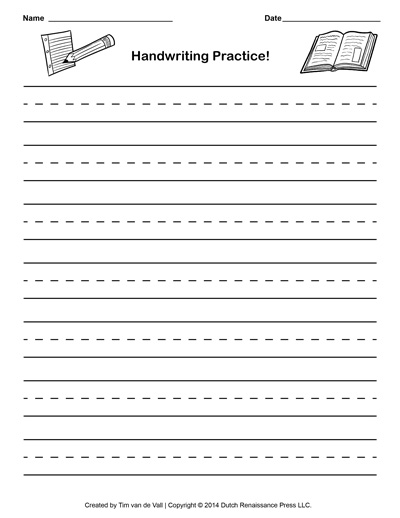 math worksheet : free handwriting practice paper for kids  blank pdf templates : Free Printable Worksheets For Kindergarten Writing