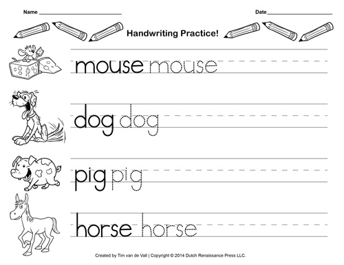 Number Names Worksheets calligraphy worksheets printable : Free Handwriting Practice Paper for Kids | Blank PDF Templates