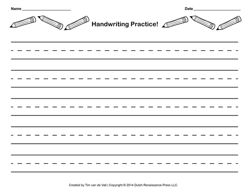 lined paper for writing practice Handwriting practice paper elementary school teachers can have students practice their handwriting with this template the template includes 8 lines for writing, with a dotted middle line.