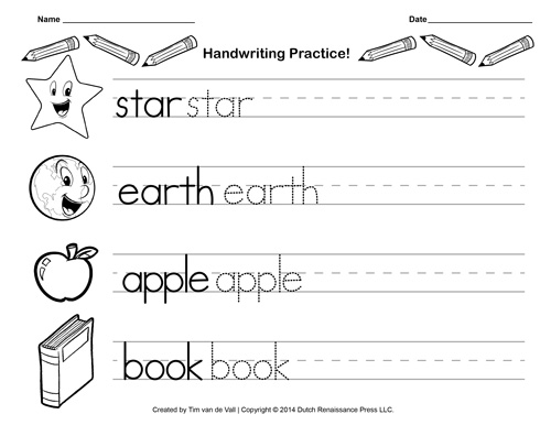 Free Handwriting Practice Paper for Kids – Language Arts Worksheets for Kindergarten