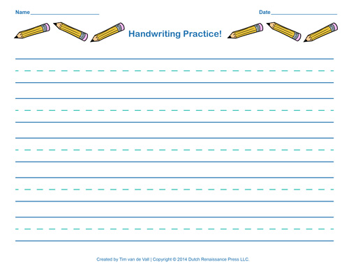 picture regarding Printable Writing Paper for Kindergarten identified as Cost-free Handwriting Educate Paper for Children Blank PDF Templates