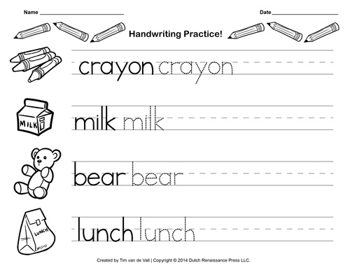 Free Handwriting Practice Paper for Kids – Kindergarten Pdf Worksheets